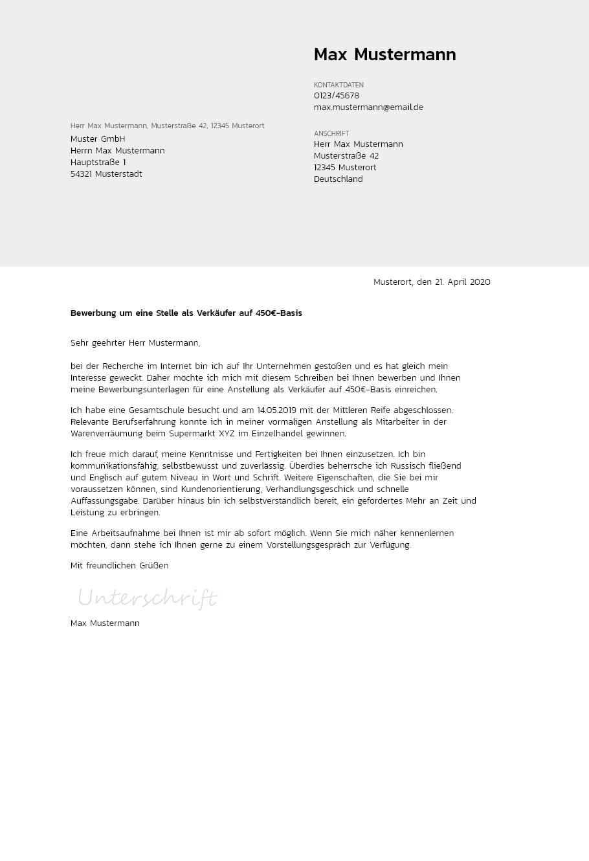 Bewerbungsvorlagen Fur 450 Euro Jobs Akzentuiert Bewerbung2go