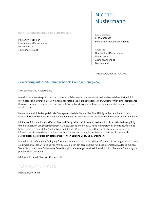 Bewerbungsvorlagen Als Bauingenieur Bewerbung2go
