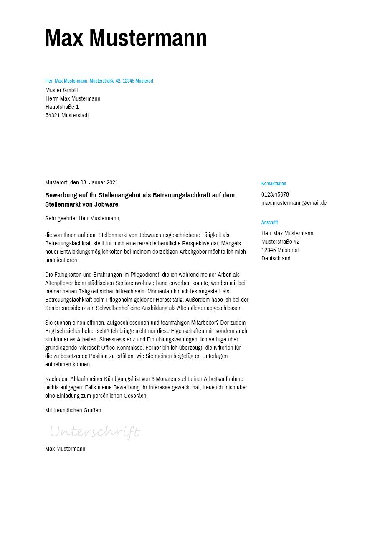Bewerbungsvorlagen als Betreuungsfachkraft Schlicht   bewerbung20go
