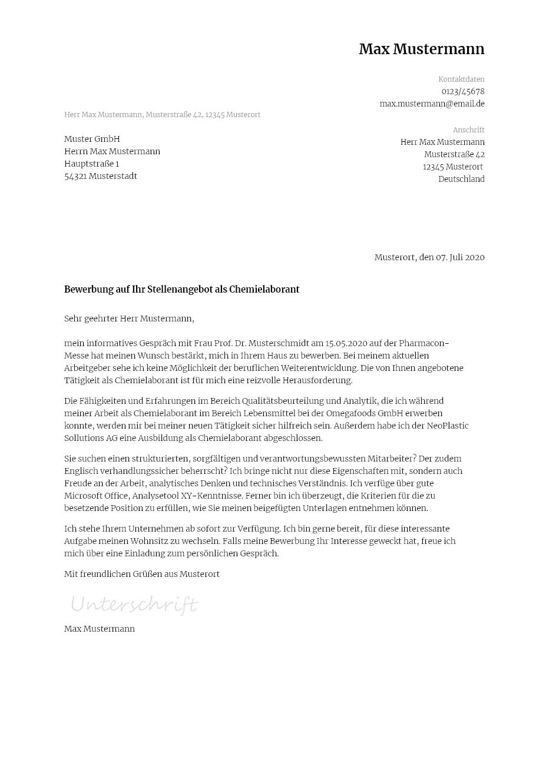 Chemielaborant Bewerbung