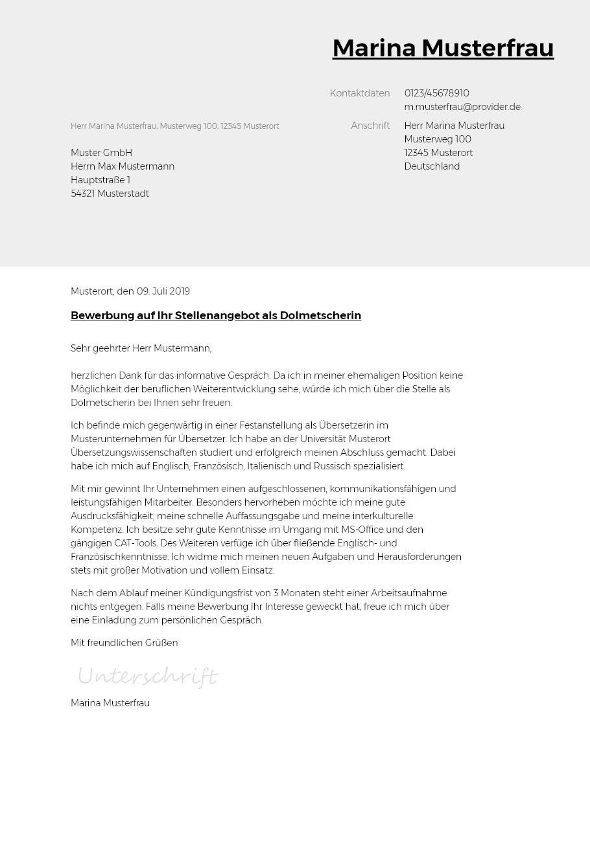 Bewerbungsvorlagen Als Dolmetscher Typographisch Bewerbung2go