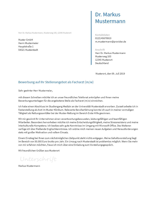 Bewerbungsvorlagen Als Facharzt Bewerbung2go
