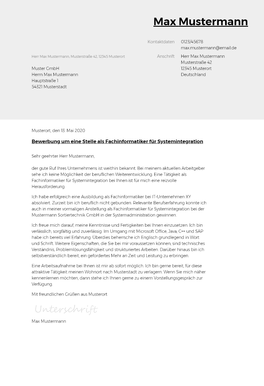 Bewerbungsvorlagen Als Fachinformatiker Systemintegration Typographisch Bewerbung2go