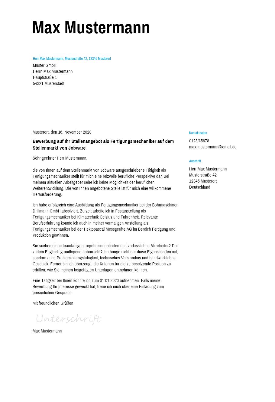 Bewerbungsvorlagen Als Fertigungsmechaniker Schlicht Bewerbung2go