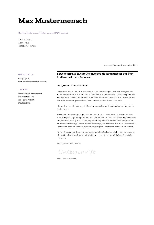 Bewerbungsvorlagen Als Hausmeister Minimalistisch Bewerbung2go