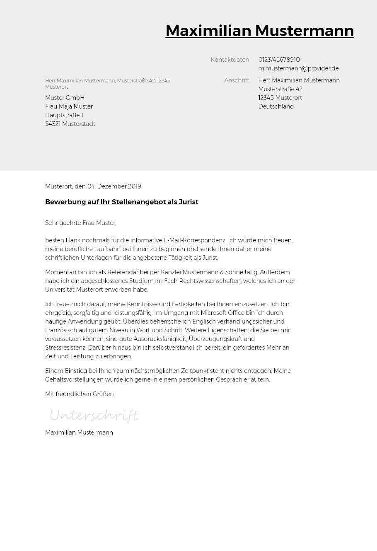 Bewerbungsvorlagen als Jurist Typographisch   bewerbung20go