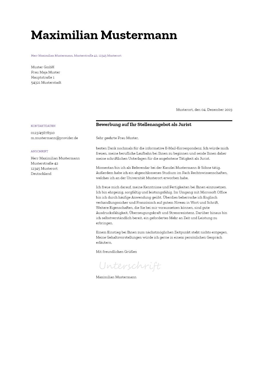 Bewerbungsvorlagen als Jurist Minimalistisch   bewerbung20go