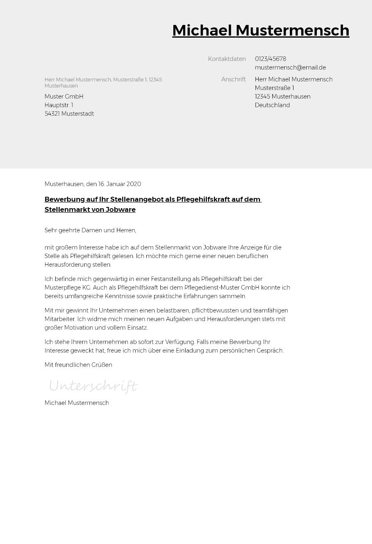 Bewerbungsvorlagen Als Pflegehilfskraft Typographisch Bewerbung2go