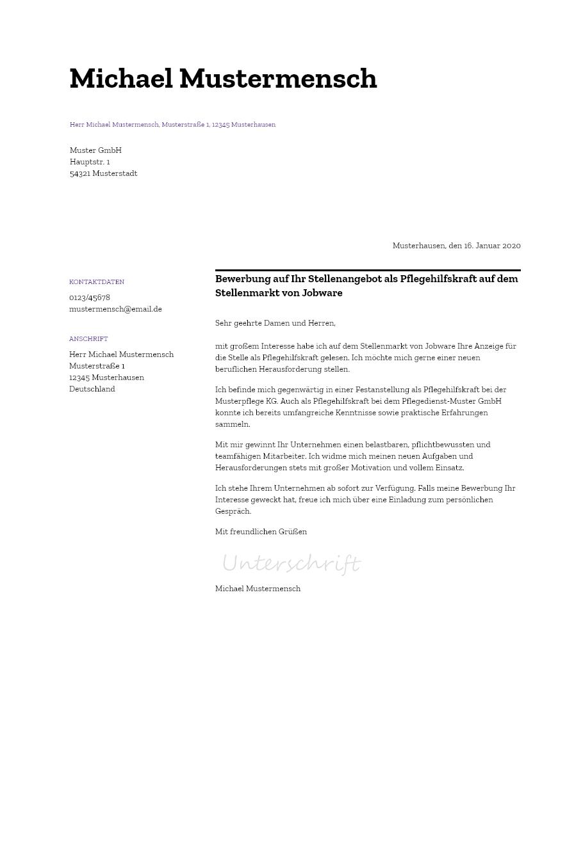 Bewerbungsvorlagen Als Pflegehilfskraft Minimalistisch Bewerbung2go