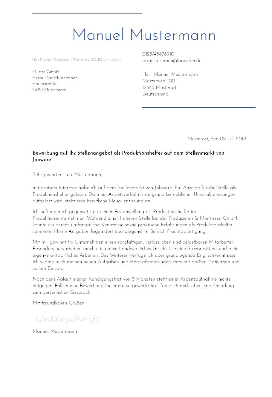Bewerbungsvorlagen Als Maschinenführer Bewerbung2go