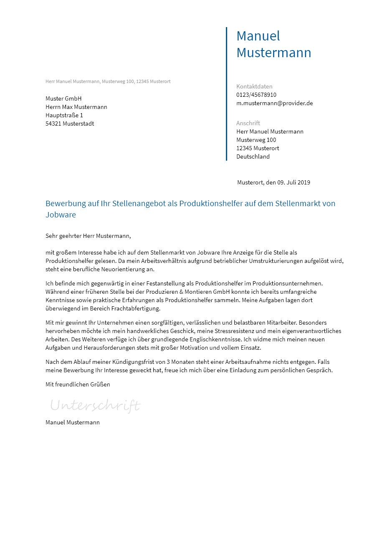 Bewerbungsvorlagen Als Produktionshelfer Bewerbung2go