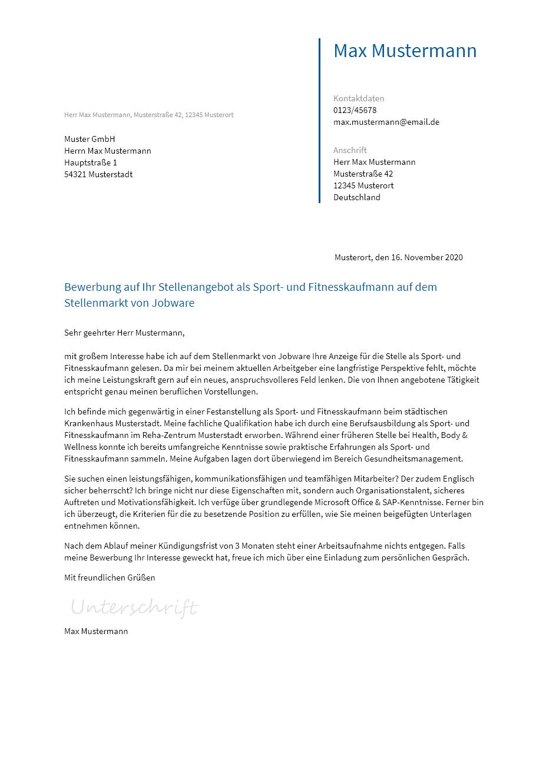 Bewerbung Als Sport Und Fitnesskaufmann