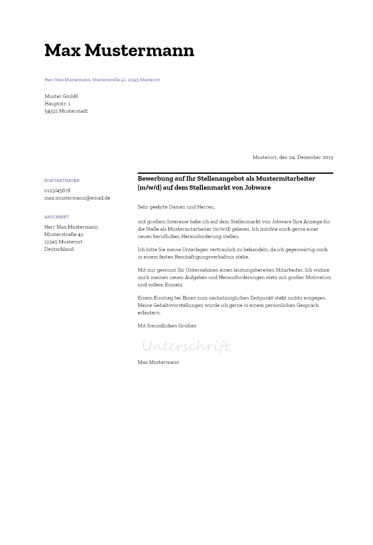 Muster Fur Bewerbungsunterlagen 2020 Bewerbung2go