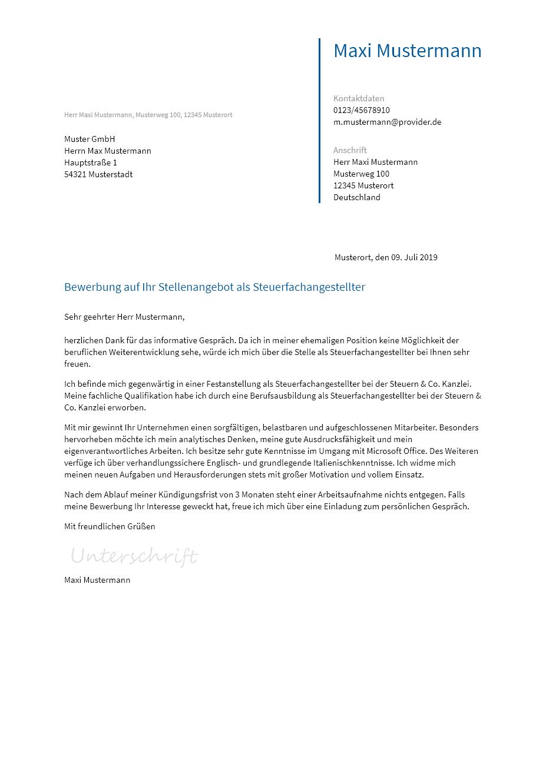 Bewerbungsvorlagen Als Steuerfachangestellter Bewerbung2go