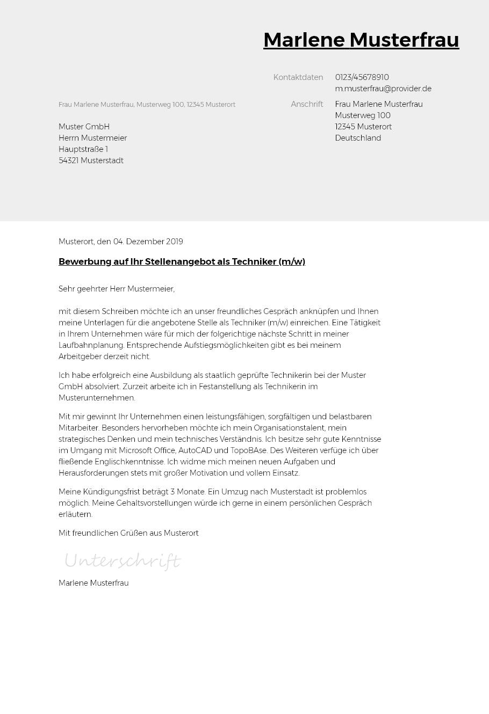 Bewerbungsvorlagen Als Techniker Typographisch Bewerbung2go