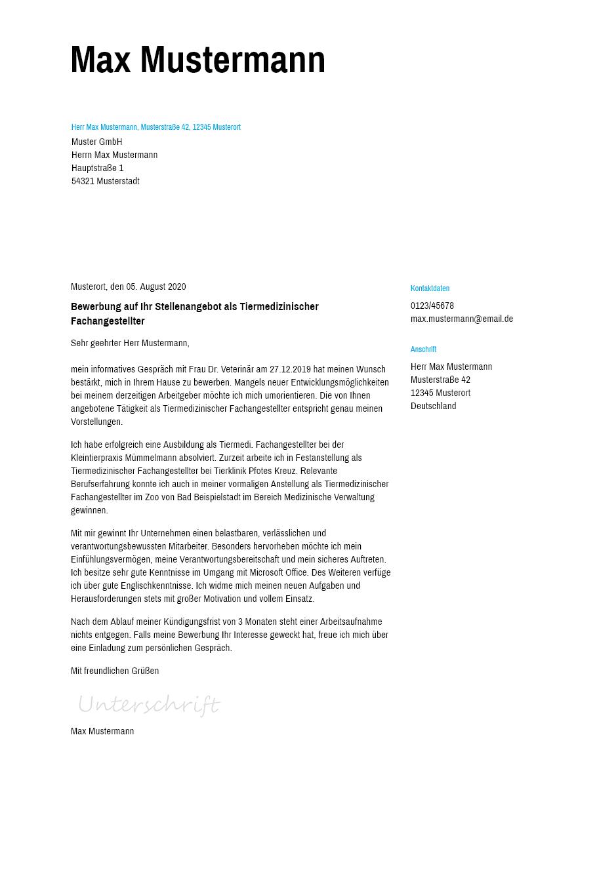 Bewerbungsvorlagen als Tiermedizinischer Fachangestellter Schlicht ...