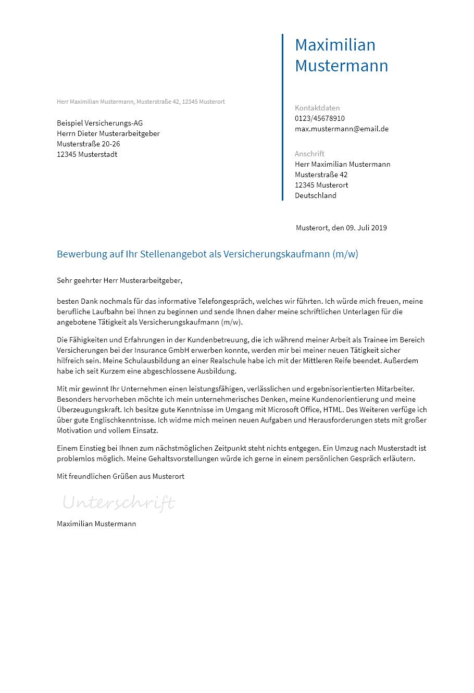 Bewerbungsvorlagen Als Versicherungskaufmann Bewerbung2go