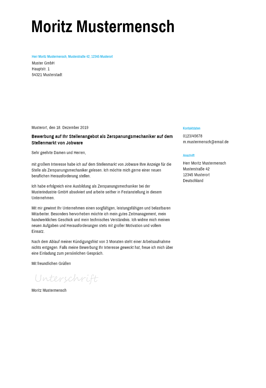 Bewerbungsvorlagen Als Zerspanungsmechaniker Schlicht Bewerbung2go