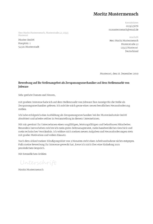 Bewerbungsvorlagen Als Zerspanungsmechaniker Klassisch Bewerbung2go