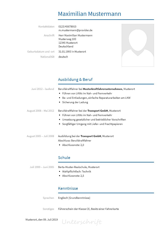 Bewerbungsvorlagen Als Berufskraftfahrer Bewerbung2go