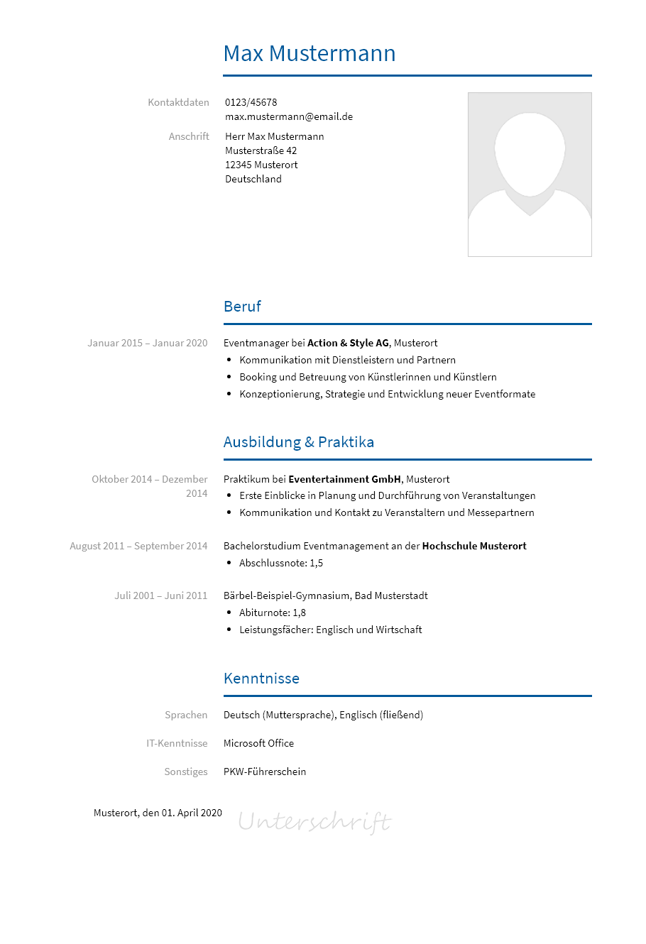 Event-Manager - Lebenslauf Modern