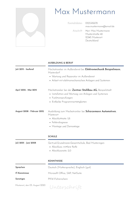 Bewerbungsvorlagen Als Mechatroniker Kreativ Bewerbung2go