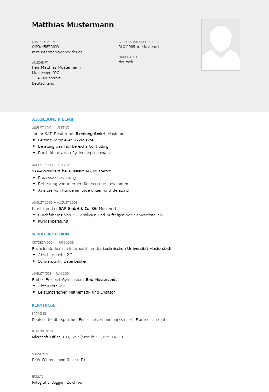 Bewerbungsvorlagen Als Sap Berater Akzentuiert Bewerbung2go