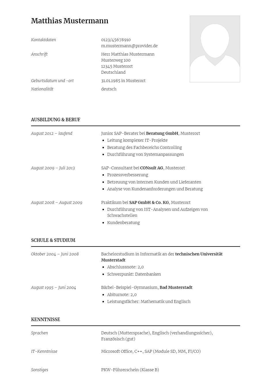 Bewerbungsvorlagen Als Sap Berater Klassisch Bewerbung2go