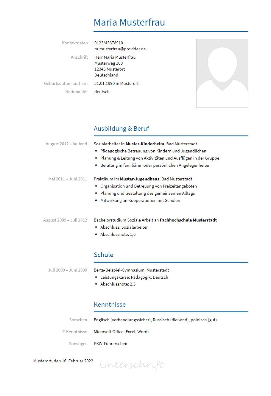 Bewerbungsvorlagen Als Sozialarbeiter Bewerbung2go