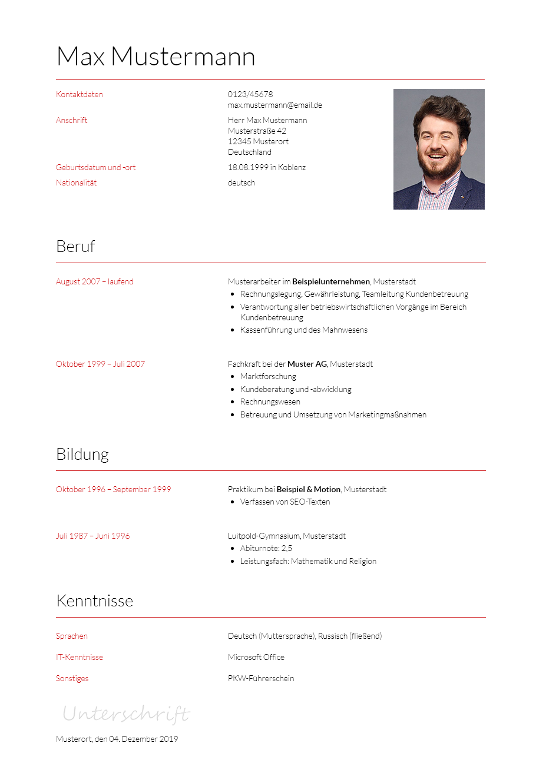 Vorlagen Muster Für Ihre Bewerbung Bewerbung2go